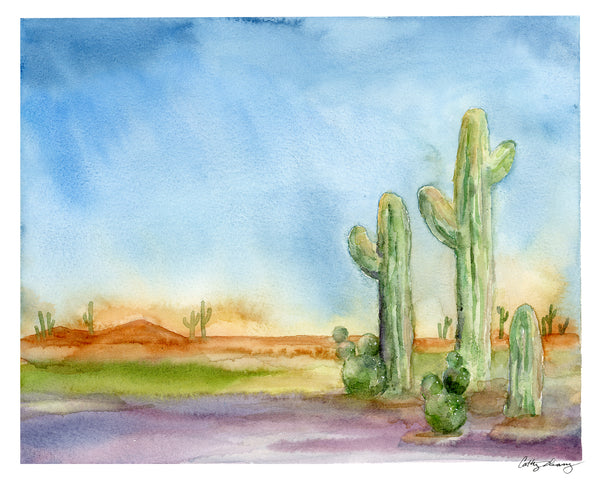 Desert Cacti - Limited Edition Watercolor Art Print