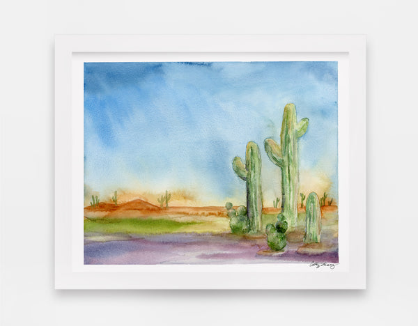 cactus watercolor in a desert landscape, desert themed art print with bright and saturated colors