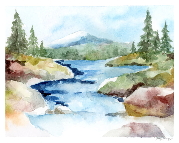 Rocky Stream Mountain Landscape - Limited Edition Watercolor Art Print