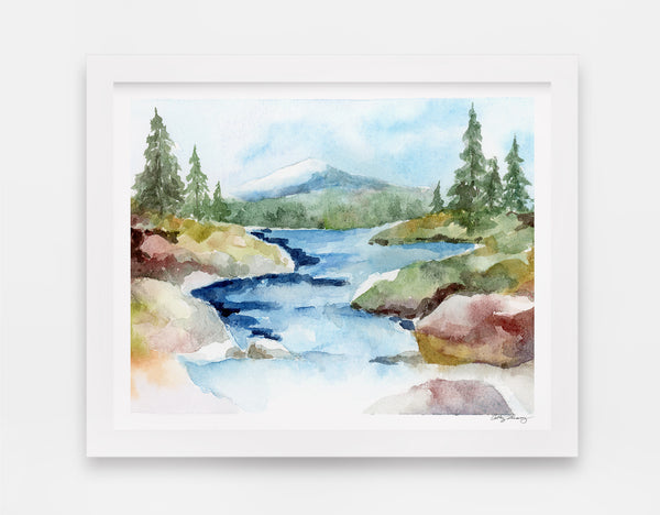 rocky stream rolls down from a mountain tucked away in a forest watercolor landscape