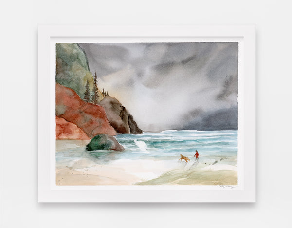 ocean tides pull towards rocky hills and coastal landscape with girl and her dog watercolor landscape