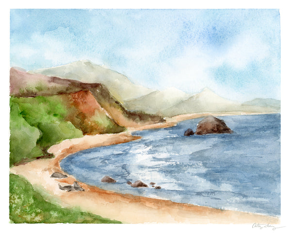watercolor sea cliffs landscape art. seals by the sea with crashing waves at an ocean cove.