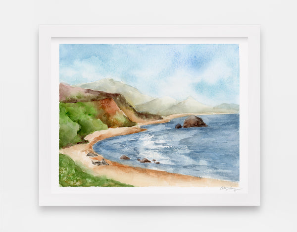 blue ocean cove surrounded by green hills and three seals on the beach watercolor landscape