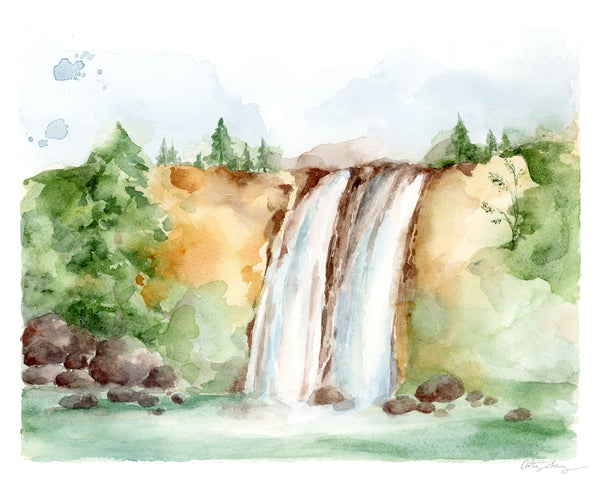 Summer Waterfalls - Limited Edition Watercolor Art Print
