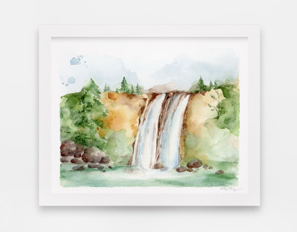 lush forest gives way to twin waterfalls and green summer lake watercolor landscape art print