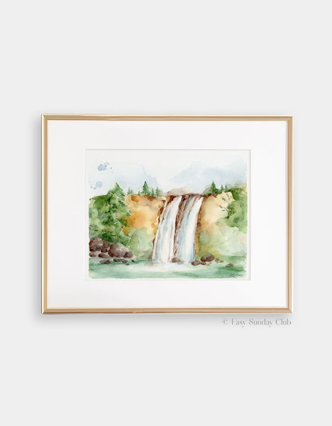 Gold framed mock up of lush forest gives way to twin waterfalls and green summer lake watercolor landscape