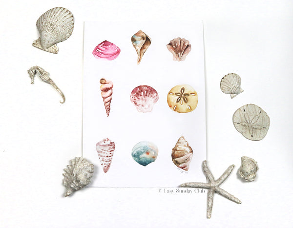 Sea Shells Original Watercolor Painting | Under the Sea