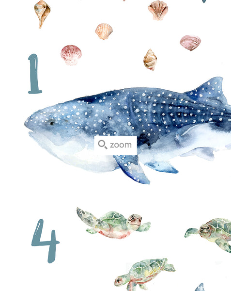 """Under the Sea"" Animals from 1 to 10 - Watercolor Art Print"