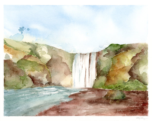 Icelandic Waterfall - Limited Edition Watercolor Art Print