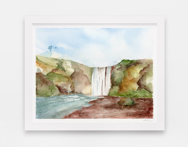 giant waterfall in center of rocky green landscape watercolor art print