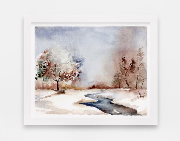 Chilly frozen winter watercolor landscape featuring small stream in a park art print