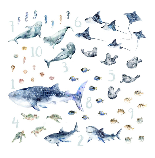 Watercolor ocean animals like whale shark, rays, seals, sharks, beluga whale, sea turtles, puffer fish, sea horse