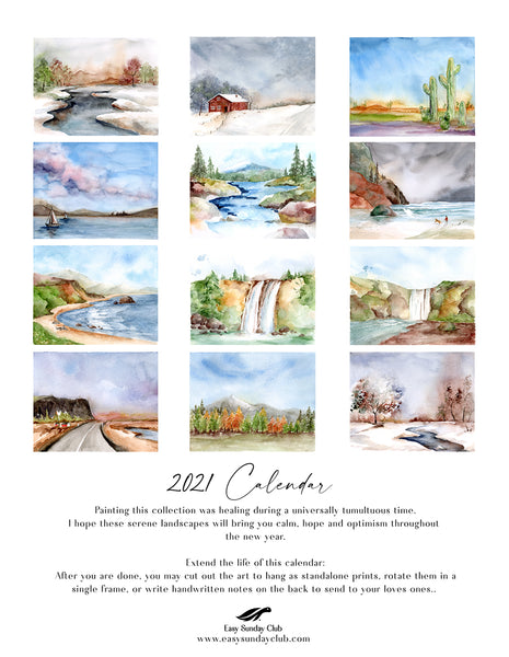 2021 Calendar With Landscape Watercolor Art, Created by Easy Sunday Club