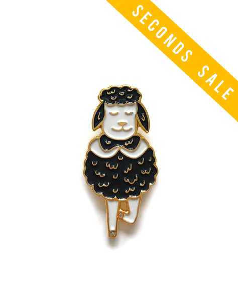 Charity Seconds Sale: Black Sheep Tree Pose Yoga Enamel Pin
