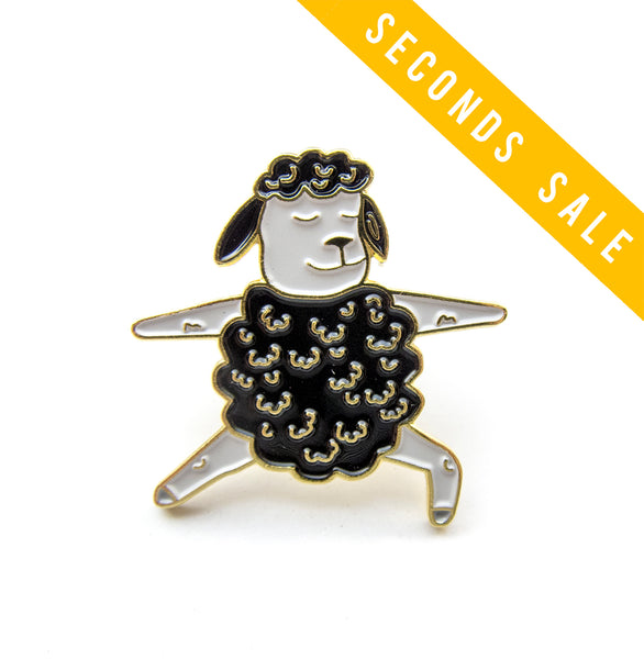 Charity Seconds Sale: Black Sheep Warrior 2 Yoga Enamel Pin