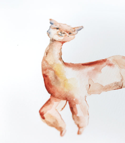 "Alpaca Original Watercolor Painting - 8""x10"""