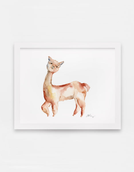 Gleeful Alpaca Watercolor Art Print