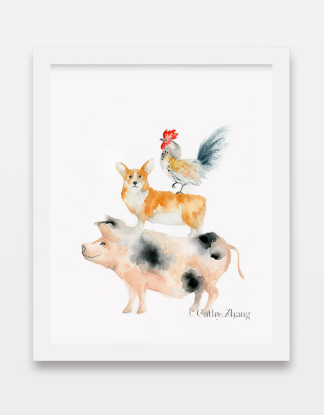 Pig, Dog (Corgi) and Rooster - Chinese Zodiac Inspired Watercolor Art Print