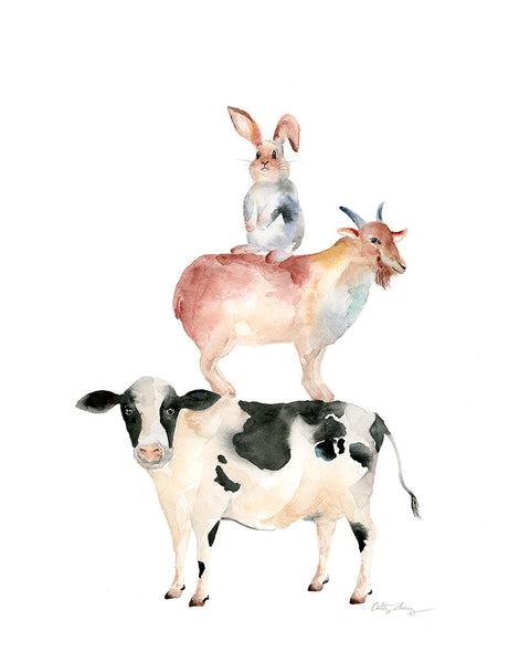 chinese zodiac animal art, watercolor stacked animals