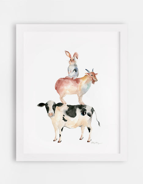 chinese zodiac animal art, rabbit, goat, cow/bull