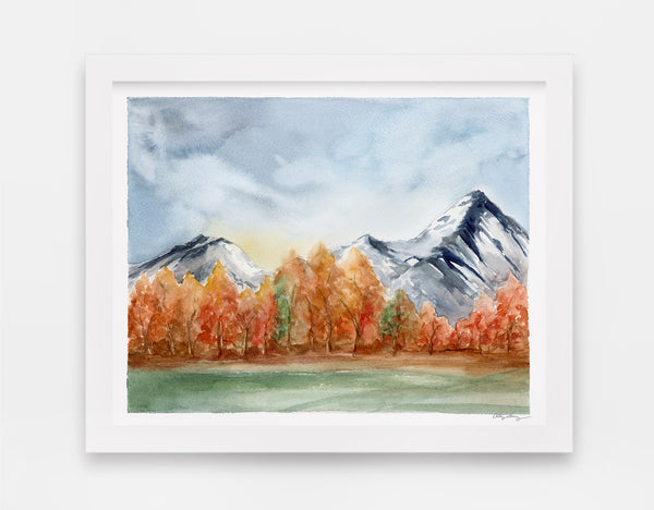 Mountain landscape watercolor art print with colorful aspens in the mid ground