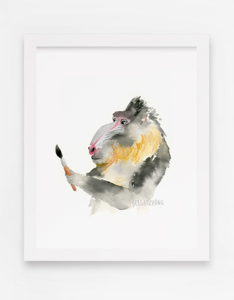 Baffled Baboon Watercolor Art Print - Alphabet in the Wild