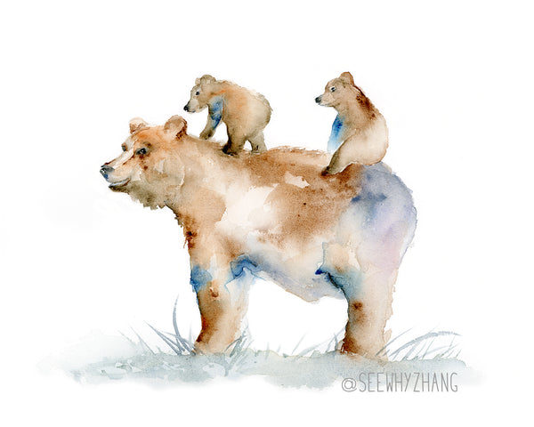fathers day art print - bear and cubs watercolor