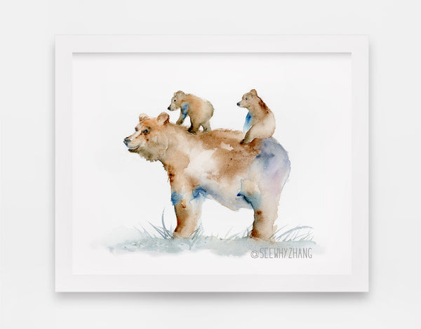 grizzly bear watercolor art print
