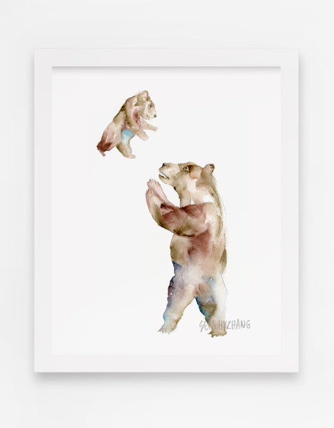 Flying Baby Bear - Watercolor Art Print