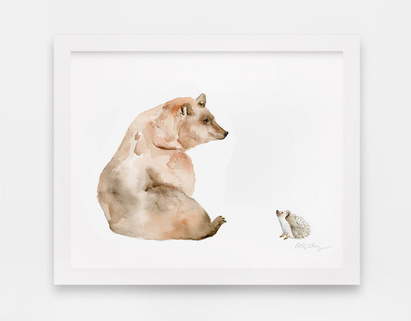 Brown Bear & Hedgehog Watercolor Art Print