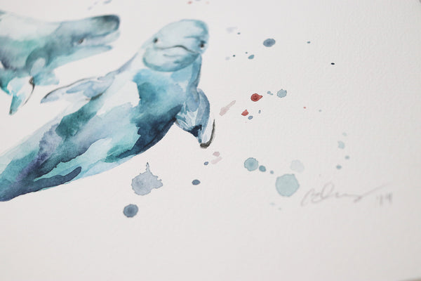 Beluga Whales Original Watercolor Painting | Under the Sea
