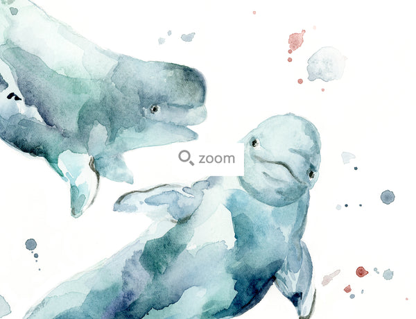 Beluga Whale Watercolor Art Print | Under the Sea