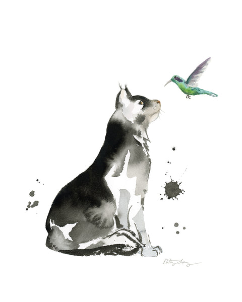 cat and hummingbird art painted with ink and watercolor