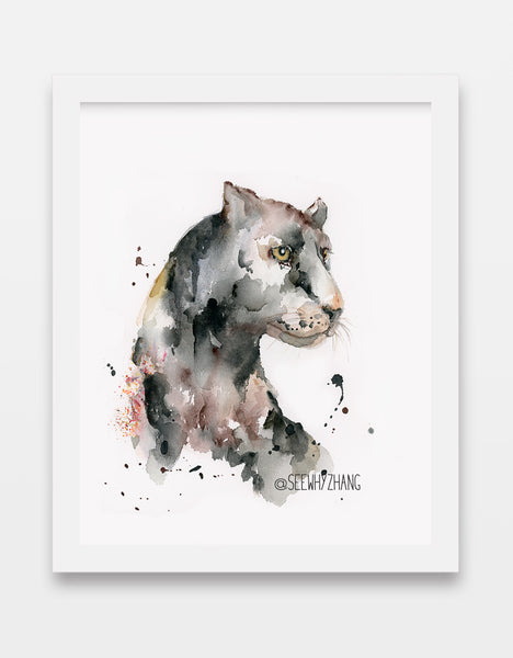 "Original Watercolor Painting of Black Panther - 9""x12"""