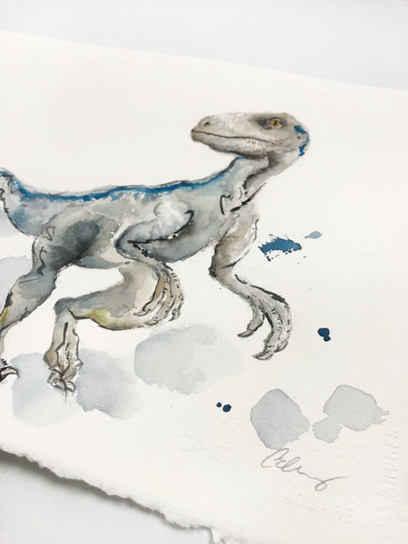 """Blue"" the Jurassic World Velociraptor - Original Dinosaur Watercolor Painting - 11""x14"""