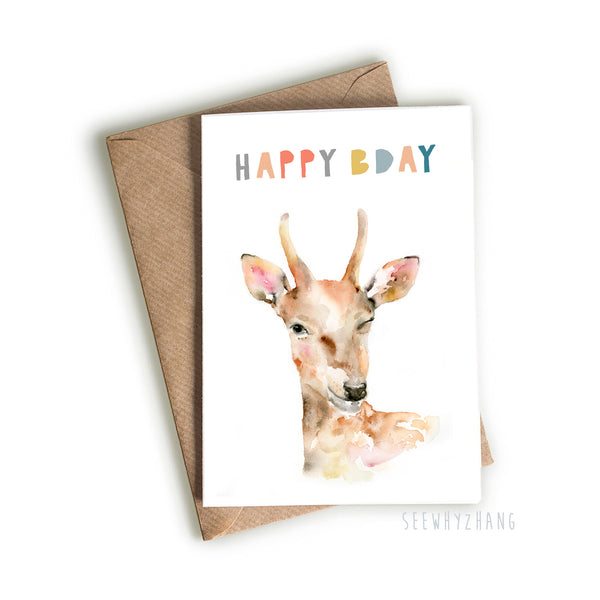 Winking Birthday Deer Card