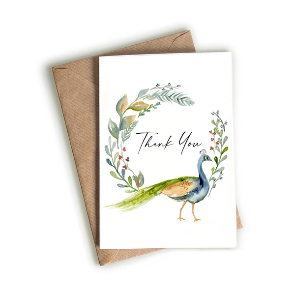 Peacock - Thank You Card