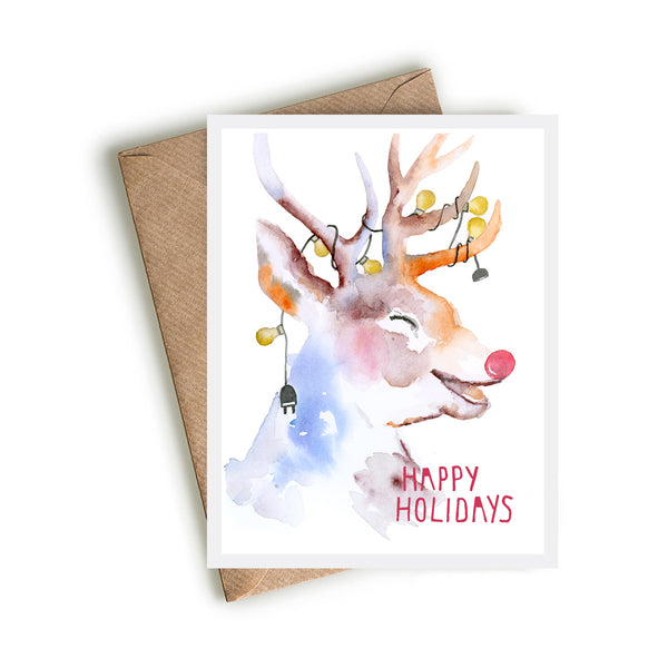 Holiday Laughing Reindeer Card