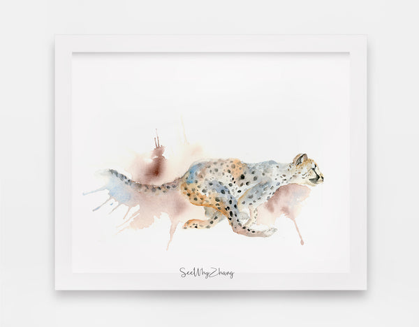 Carefree Cheetah Watercolor Art Print - Alphabet in the Wild