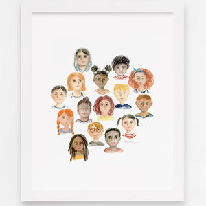 """""""We are One Human Race"""" - Diversity Watercolor Art Print"""