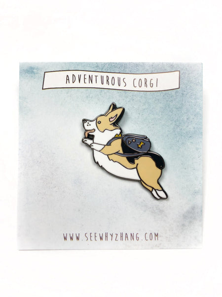 Adventurous Corgi Enamel Pin