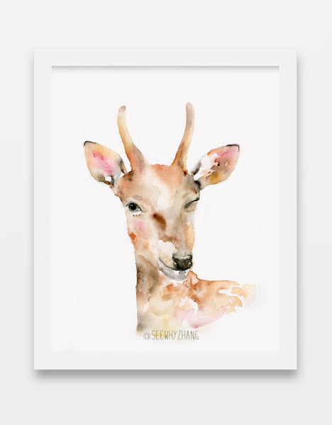 Winking Deer Watercolor Art Print