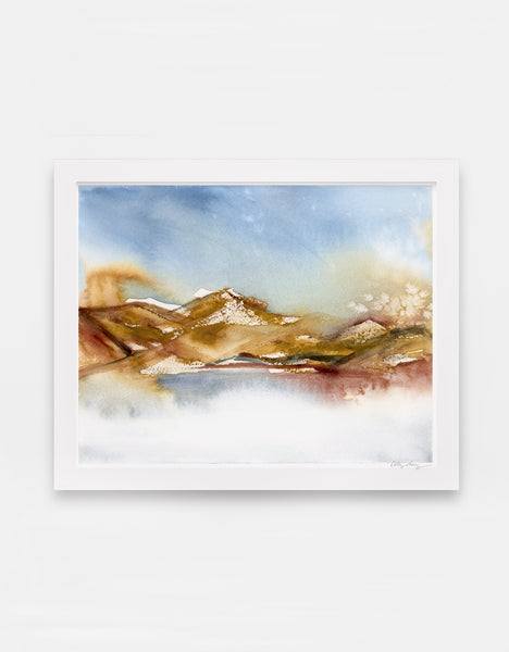 Rich earth-tone washes of color reveal a desert hill watercolor landscape