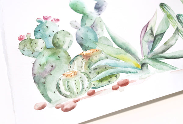 "Desert Vibes - Cactus Original Watercolor Painting 11""x14"""