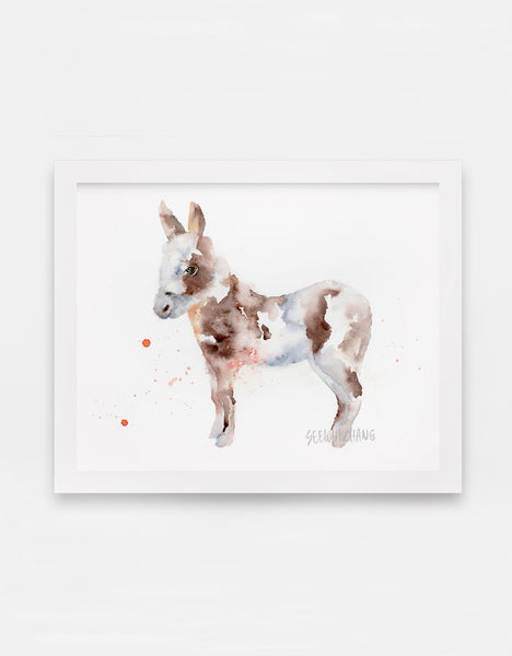 Doting Donkey Watercolor Art Print - Alphabet in the Wild