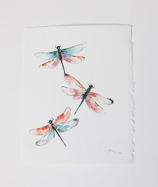 dragonflies watercolor art, dragonfly painting watercolor and ink