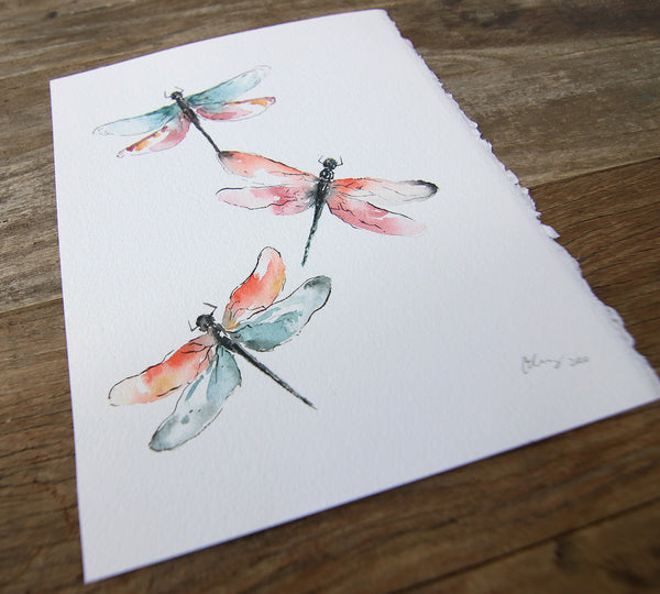 "Dragonflies - Original Watercolor Painting 8"" x 10"""