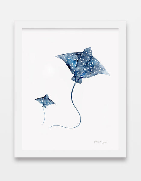 eagle spotted rays watercolor print