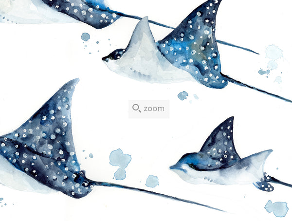 Family of Spotted Eagle Rays - Watercolor Art Print | Under the Sea