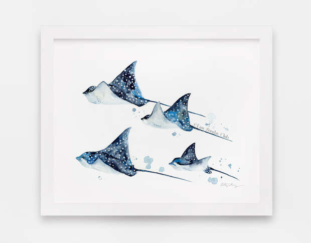 Family of Spotted Eagle Rays - Watercolor Art Print | Under the Sea 1